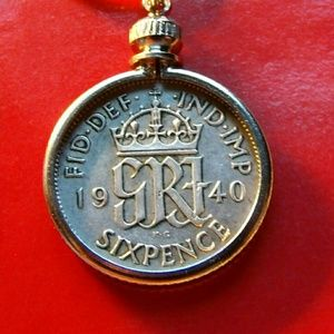 Estate 1940 Six Pence pendant Coin